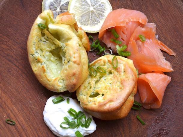 Dill Yorkshire Puddings With Smoked Salmon and Horseradish Cream Recipe