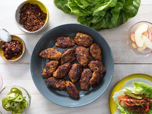 Lettuce Wraps With Sweet-Spicy Chicken Meatballs Make Dinner Easy AF