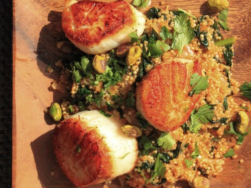 Scallops With Spicy Quinoa, Kale, and Pistachios Recipe