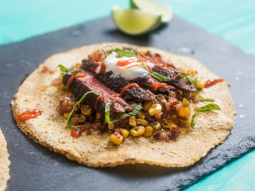 Easy Steak Tacos With Charred Corn and Sriracha Recipe