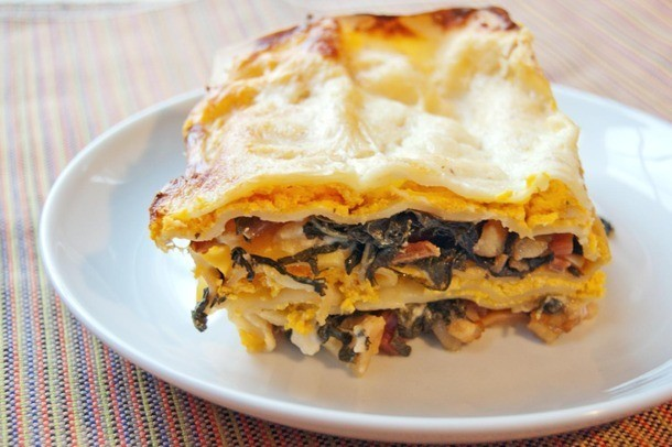Meat Lite: Butternut Squash Lasagna With Bacon-Braised Greens and Béchamel