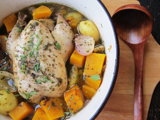 Chicken Dinners: Chicken in a Pot (Poule au Pot) With Potatoes and Squash