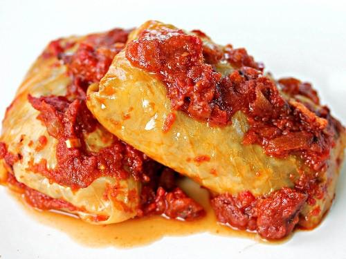 Bratwurst-Stuffed Cabbage Rolls With Smoky Bacon-Tomato Sauce Recipe