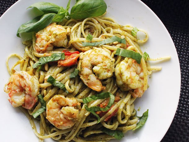 Skillet Suppers: Pesto Pasta with Shrimp and Pine Nuts