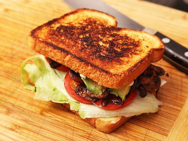 "Vegan ""B.L.A.T.""s: Lettuce, Tomato, Avocado, and Crispy Smoked Mushroom Sandwiches"