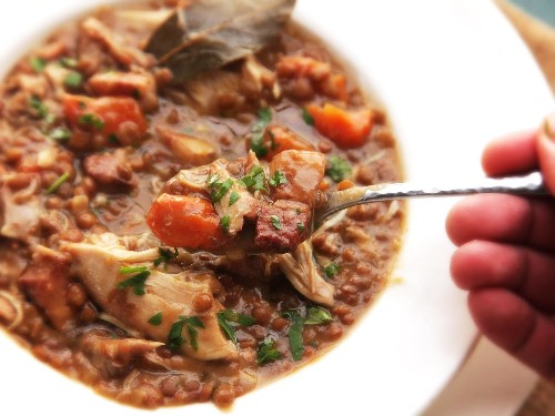 30-Minute Pressure Cooker Chicken, Lentil, and Bacon Stew With Carrots