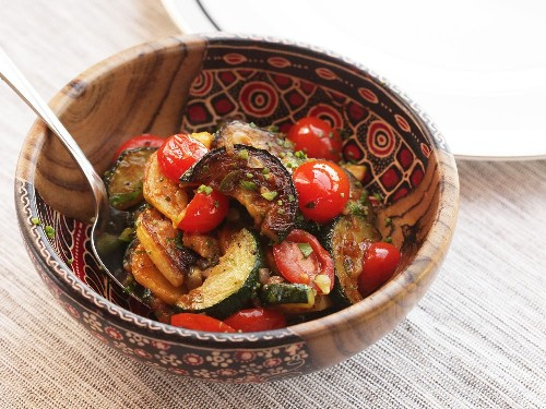 Easy Sautéed Zucchini, Squash, and Tomatoes With Chilies and Herbs Recipe