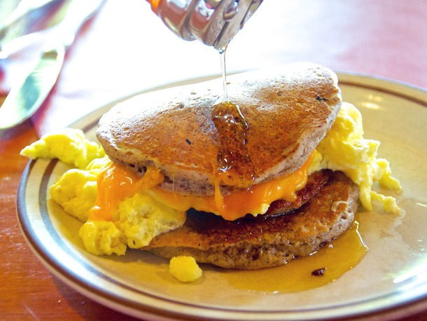 The Panwhich (Pancake Sandwich) at Polly's Pancake Parlor in Sugar Hill, NH