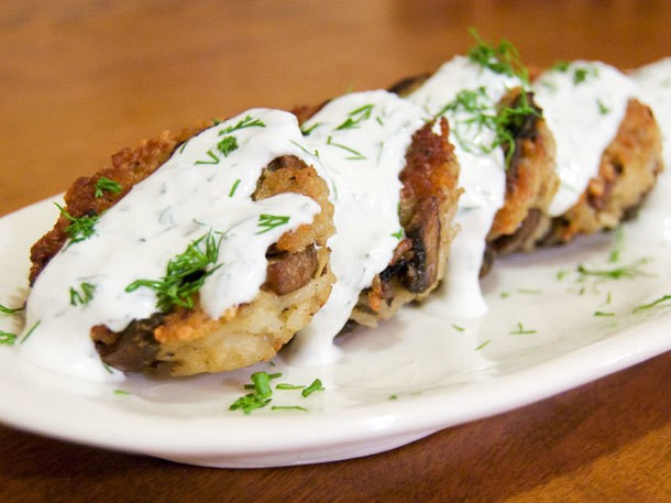 Mushroom-Rice Fritters With Lemon-Dill Sour Cream Recipe