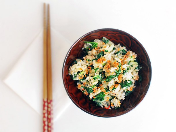 Bok Choy and Kale Fried Rice With Fried Garlic