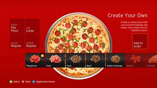 Pizza Hut: Now Available On Your Xbox 360