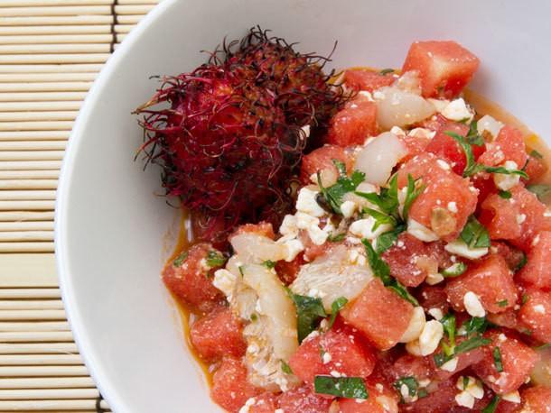 Watermelon, Lychee, Feta, and Basil Salad With Spicy Lemongrass Vinaigrette Recipe