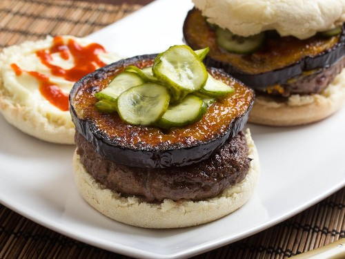 Japanese Miso-Glazed Eggplant Burgers With Fresh Pickles Recipe