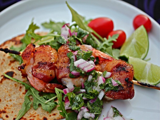 Grilled, Bacon-Wrapped Shrimp With Arugula and Red Onion Relish Recipe