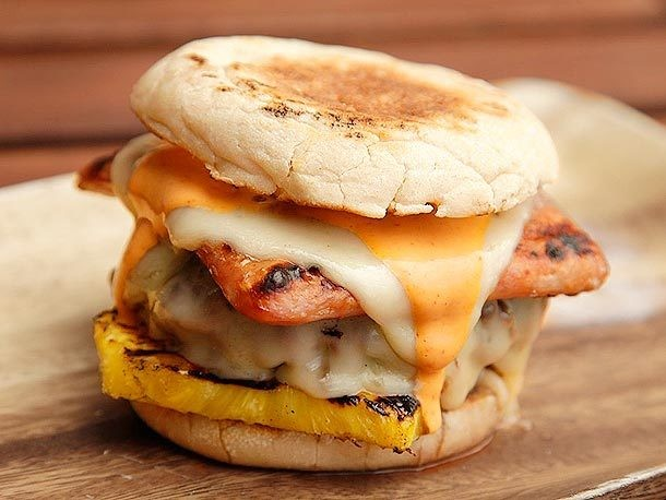 Hot Hawaiian Burgers (Spam, Pineapple, Swiss, and Sriracha Mayo) Recipe