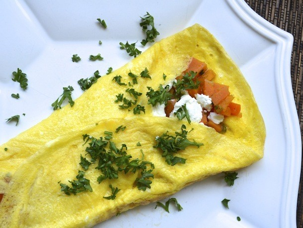 Sunday Brunch: Sweet Potato, Tarragon, and Goat Cheese Omelet