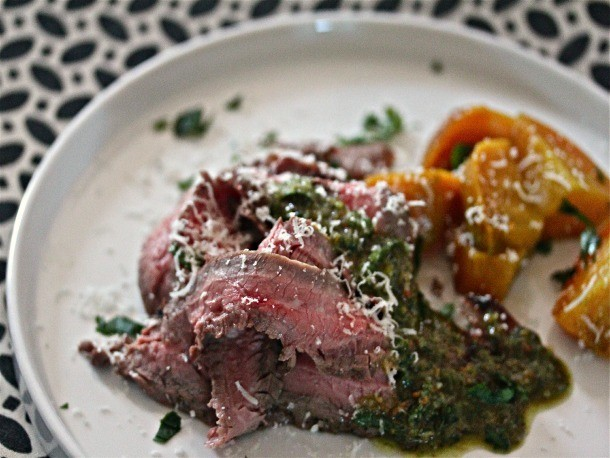 Grilled Flank Steak with Pistachio-Mint Pesto and Roasted Beets Recipe