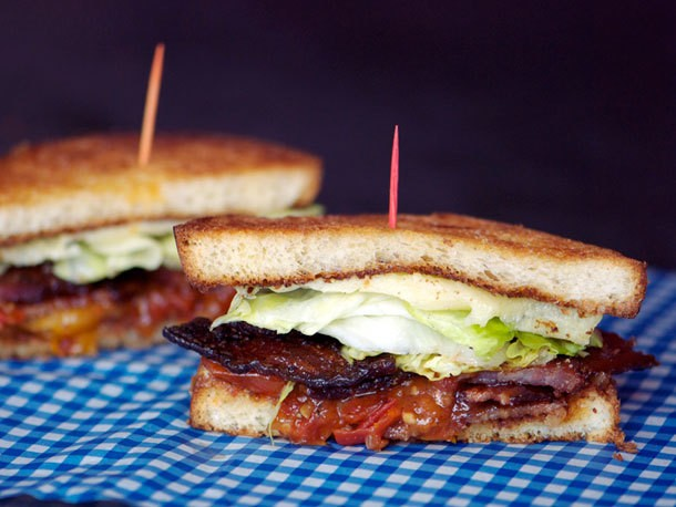 BLT Sandwiches with Candied Bacon, Lettuce, and Tomato Jam Recipe