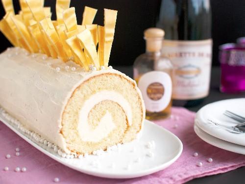 How to Make a White Chocolate and Champagne Bûche de Noël