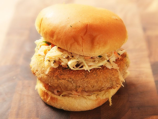 Vegan: Crispy Fried Chickpea Cake and Slaw Sandwiches