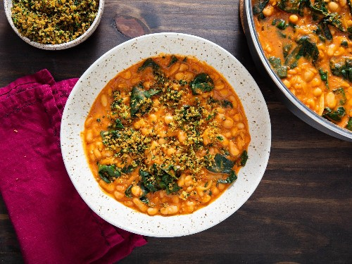 Creamy White Beans With 'Nduja, Kale, and Gremolata Breadcrumbs Recipe