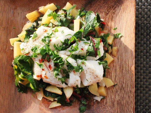 Steamed Fish With Chard and Potato Hash Recipe