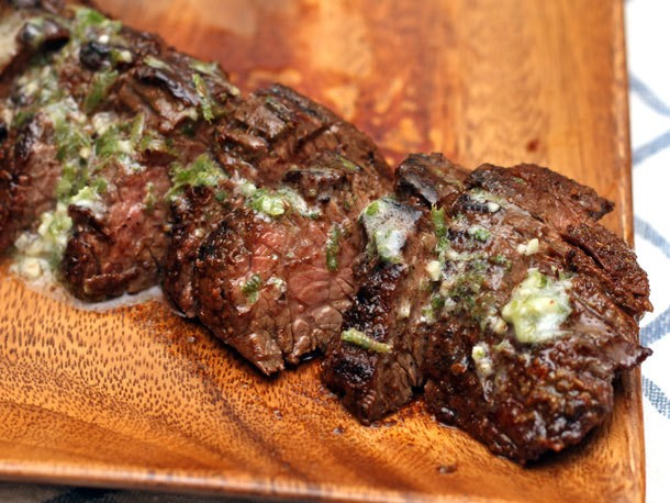Grilled Chipotle-Rubbed Steaks with Lime Butter Recipe