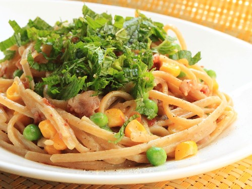 Whole-Wheat Linguine With Pancetta, Peas, Corn, and Mint Recipe