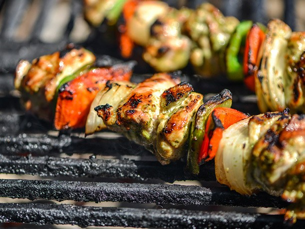 Cilantro-and-Lime Marinated Chicken Fajita Kebabs Recipe