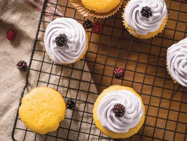 Vanilla Cream Cheese Cupcakes With Black Raspberry Buttercream From 'Fruitful' Recipe