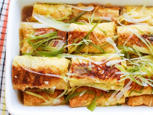Chinese Bean Curd Rolls Stuffed With Pork, Mushroom, and Ginger Recipe