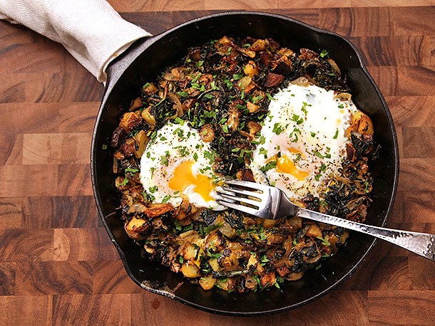 Crispy Kale, Brussels Sprouts, and Potato Hash Recipe