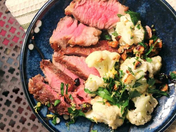 Make-Ahead Steak with Hazelnut Gremolata and Cauliflower Recipe