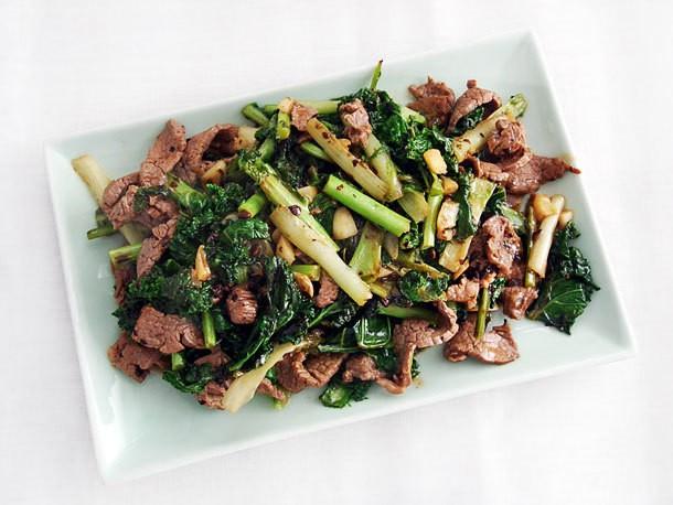 Stir-Fried Beef With Kale and Frisée in Black Bean Sauce Recipe
