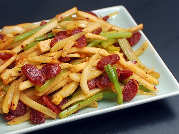 Spicy Stir-Fried Fennel, Celery, and Celery Root With Chinese Sausage Recipe