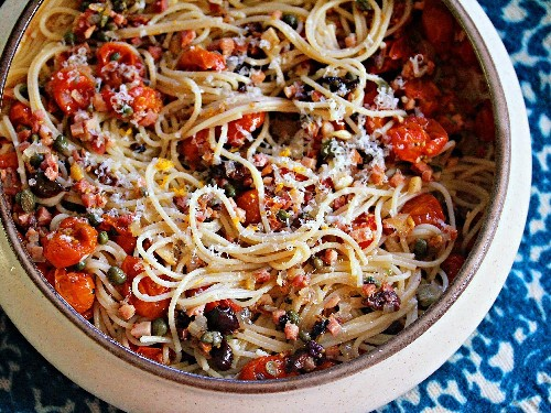 Oven-Roasted Tomato Sauce With Salami, Olives, and Pecorino Recipe