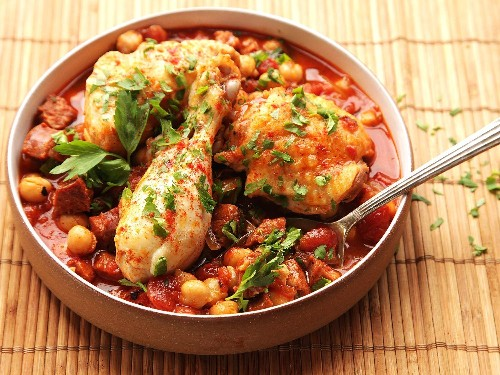 30-Minute Pressure Cooker Chicken With Chickpeas, Tomatoes, and Chorizo Recipe