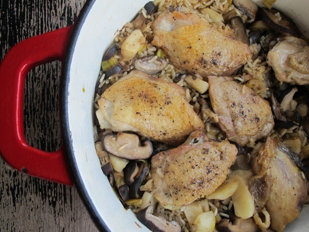 Chicken Dinners: One-Pot Sesame Chicken, Shiitake, and Brown Rice