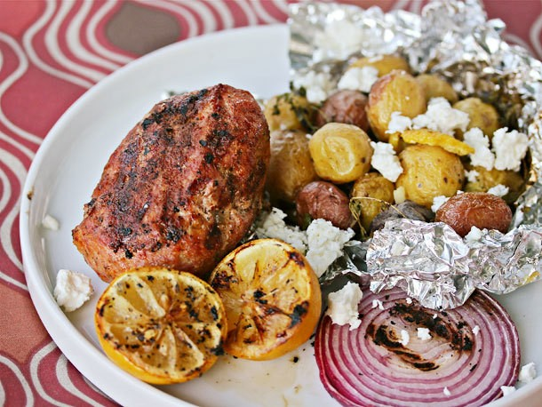 Grilled Greek-Style Meatloaf with Herbed Potatoes and Grilled Lemon Recipe