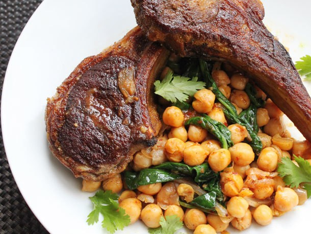 Skillet Lamb Chops With Harissa, Spinach, and Chickpeas Recipe