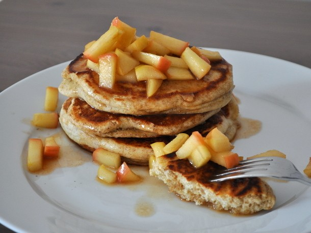 Rye Pancakes With Apple-Maple Compote Recipe