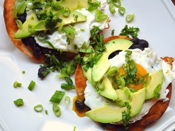 Black Bean, Avocado, and Egg Tostadas Recipe