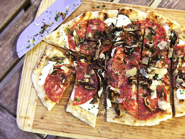 Grilled Pizza With Grilled Shiitake, Sopressata, and Parmesan Recipe