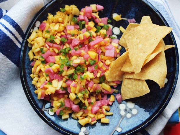 Peach Salsa With Pickled Red Onions and Serrano Chiles Recipe