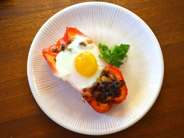 Sunday Brunch: Egg with Sausage-Stuffed Peppers
