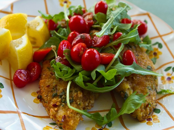 Breaded Chicken Cutlets With Tomatoes and Arugula Recipe