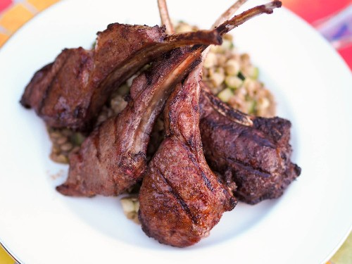 Grilled Berbere-Spiced Lamb Chops With Cucumber-Lentil Salad Recipe
