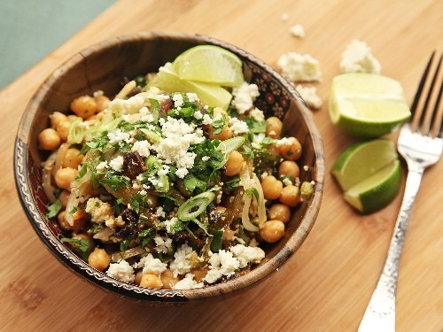 Easy Make-Ahead Chickpea Salad With Bacon, Roasted Chilies, and Cotija Cheese