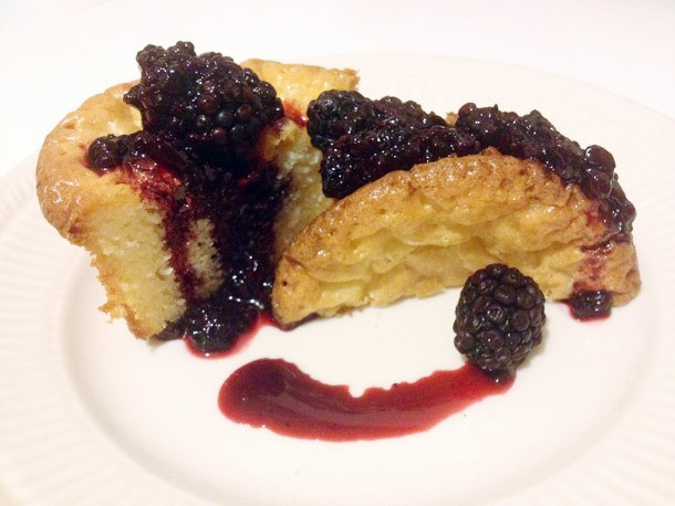 White Chocolate Cakelets with Blackberry Cabernet Gastrique Recipe