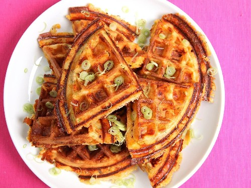 Bacon, Cheese, and Scallion Waffles Recipe